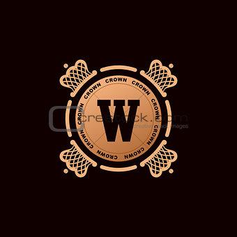 Calligraphic Luxury crown logo. Emblem elegant decor elements. Vintage