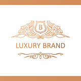 Calligraphic Luxury logo. Emblem elegant decor elements. Vintage