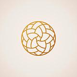 Geometric round Eastern star logo. Vector circular arabic ornamental symbol