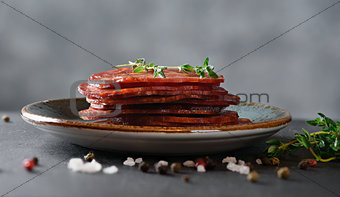 sliced dry sausage on a plate