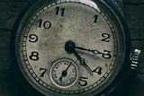close up of grungy old clock