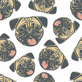 Pug dog vector seamless pattern illustration