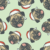 Christmas Pug dog vector seamless pattern illustration