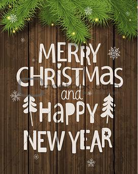 Christmas and New Year Holiday Greeting Card.