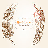 Hand-drawn Abstract with ethnic ornaments doodle pattern.