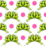 Seamless pattern with cartoon bow