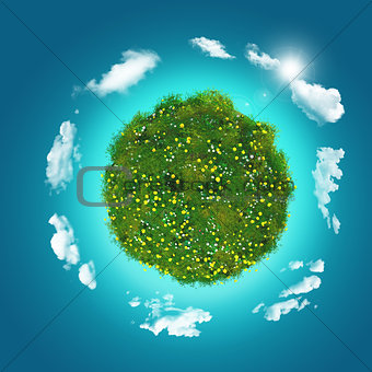 3D grassy globe with clouds on a blue sky background