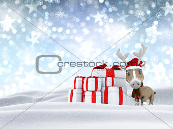 3D reindeer and gifts in snowy landscape