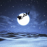 3D Santa and sleigh flying through a night sky