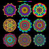 Set of 9 rainbow palette mandalas