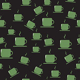Tea or coffee cups on dark background.