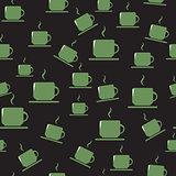 Tea or coffee cups on dark background.