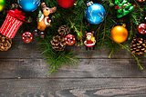 Merry Christmas Frame with real wood and colorful baubles
