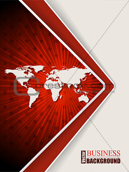 Abstract red brochure with stars and world map