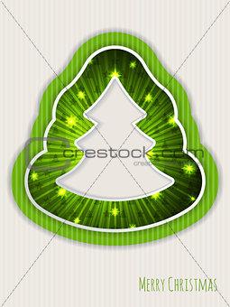 Green christmas greeting with bursting christmas tree