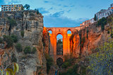 Puente Nuevo, New Bridge, at night in Ronda, Spain