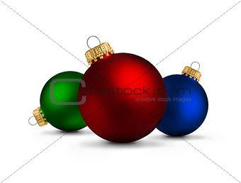 Christmas balls over white background