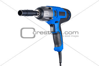 Blue impact gun with socket left view isolated on white