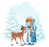 Snow Maiden in blue fur coat and fawn among pine trees in winter forest