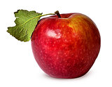 In front red ripe apple with green leaf