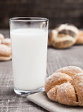 Glass of milk with bread roll for breakfast