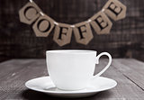Coffee cup espresso  hot white on wooden board