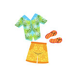 Shirt, Swimshorts And Flip-Flops Hawaiian Vacation Classic Symbol