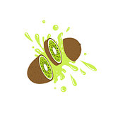 Kiwi Cut In The Air Splashing The Juice