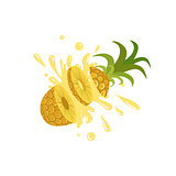 Pineapple Cut In The Air Splashing The Juice