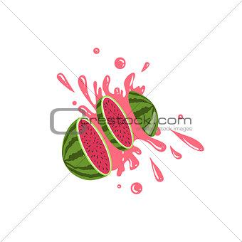 Watermelon Cut In The Air Splashing The Juice
