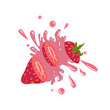 Strawberry Cut In The Air Splashing The Juice