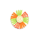 Vegetable Sticks And Hummus Classic Christmas Symbol Colorful Illustration