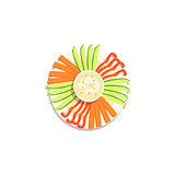 Vegetable Sticks And Hummus Classic Christmas Symbol Colorful Illustration