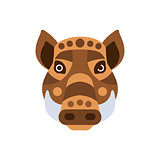 Wart Hog African Animals Stylized Geometric Head