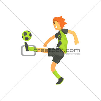 Football Player Kicking The Ball Isolated Illustration
