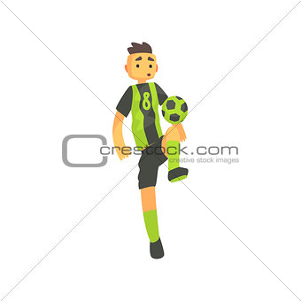 Football Player In Green Uniform Isolated Illustration