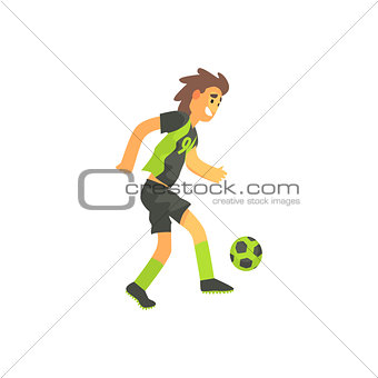 Football Player Running With Ball Isolated Illustration