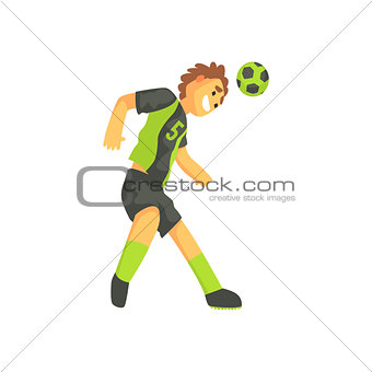 Football Player Smiling And Recieving The Ball On Head Isolated Illustration