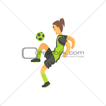Football Player With Ponytail Isolated Illustration