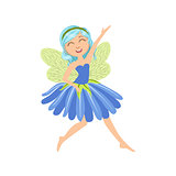 Cute Fairy In Blue Dress Girly Cartoon Character