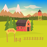 Farm And Surrounding Landscape Colorful Sticker