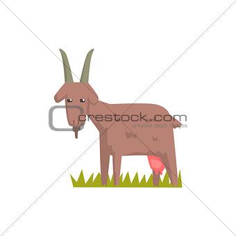 Grey Goat Toy Farm Animal Cute Sticker