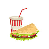 Taco And Soft Drink Street Food Menu Item Realistic Detailed Illustration