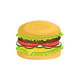 Burger Street Food Menu Item Realistic Detailed Illustration