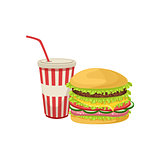 Burger Combo Street Food Menu Item Realistic Detailed Illustration