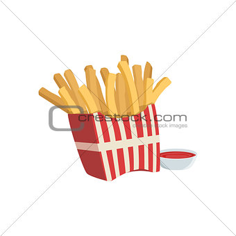 French Fries And Ketchup Street Food Menu Item Realistic Detailed Illustration