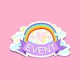 Event Template Label Cute Sticker With Rainbow