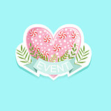 Event Template Label Cute Sticker With Candy Heart