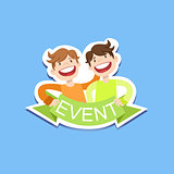 Event Template Label Cute Sticker With Smiling Friends
