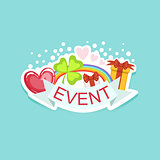 Event Template Label Cute Sticker With Shamrock And Rainbow
